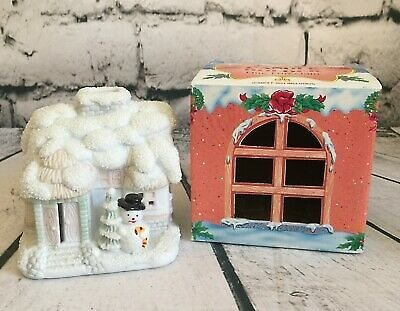 Christmas Candle Holder Snowman & House White Snow Porcelain Holiday Style Decor 400005267239