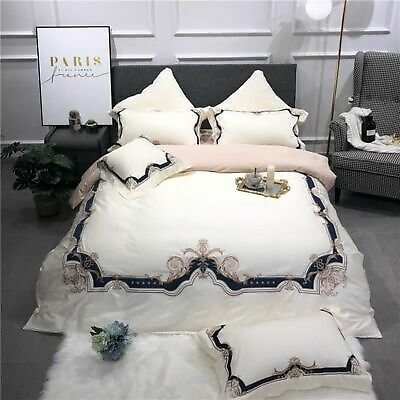 Bedding Sets Flat Duvet Cover Bedspread Egyptian Cotton Embroidered Bed Textiles