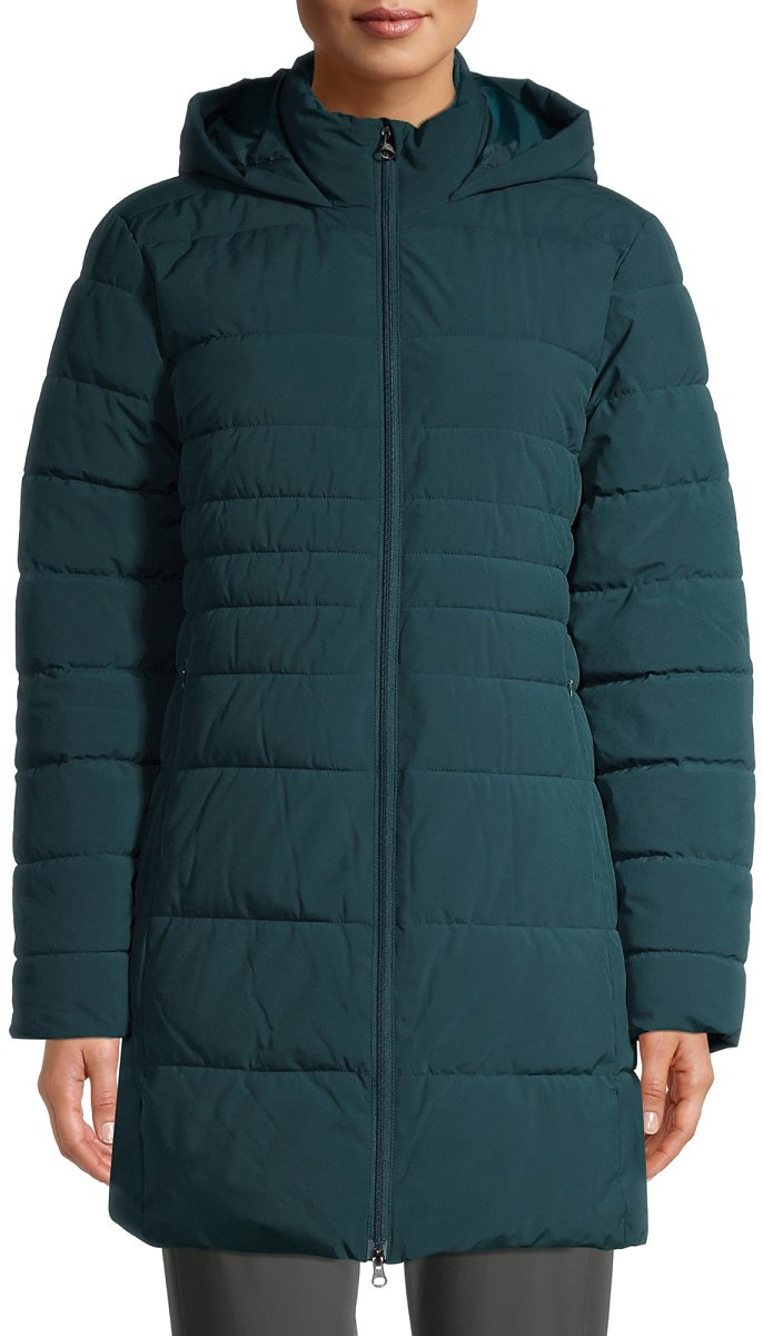 Swiss Tech Women's Mid-Length Puffer Jacket with Hood