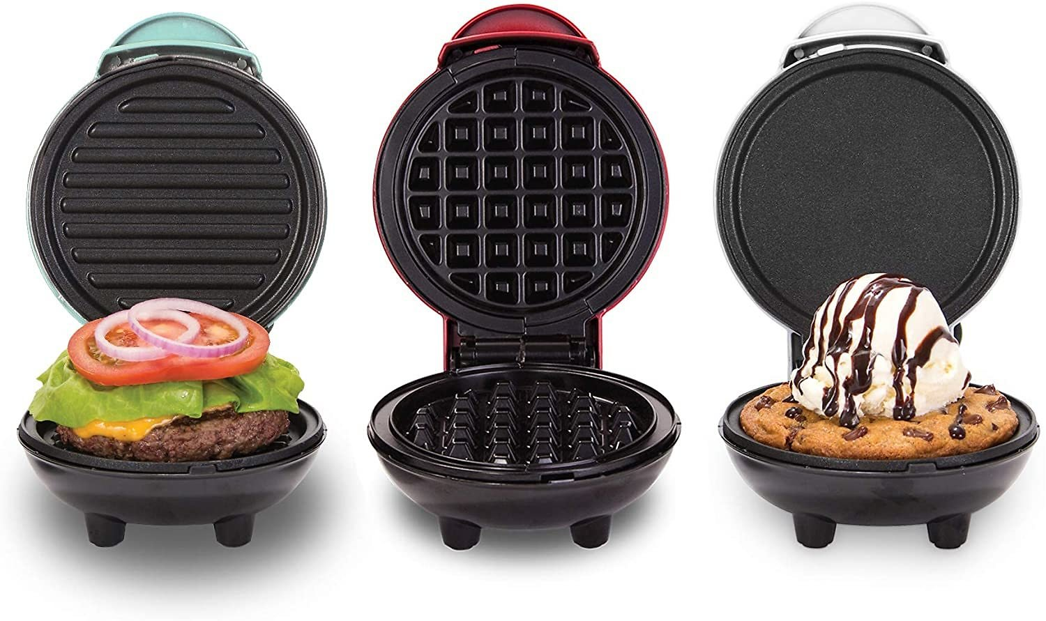 Dash Mini Maker Grill, Griddle + Waffle Iron, 3 Pack, Red/Aqua/White