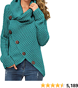GRECERELLE Women's Solid Color Chunky Button Pullover Sweater Turtle Cowl Neck Asymmetric 2020
