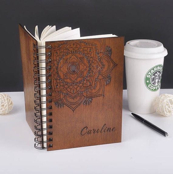 Wooden Notebook Wood Notebook Personalized Notebook Personalized Gift for Woman Birthday Gift for Her Womens Gift Wooden Mandala Journal