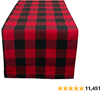 DII Buffalo Check Collection Classic Tabletop, Table Runner, 14x72, Red & Black