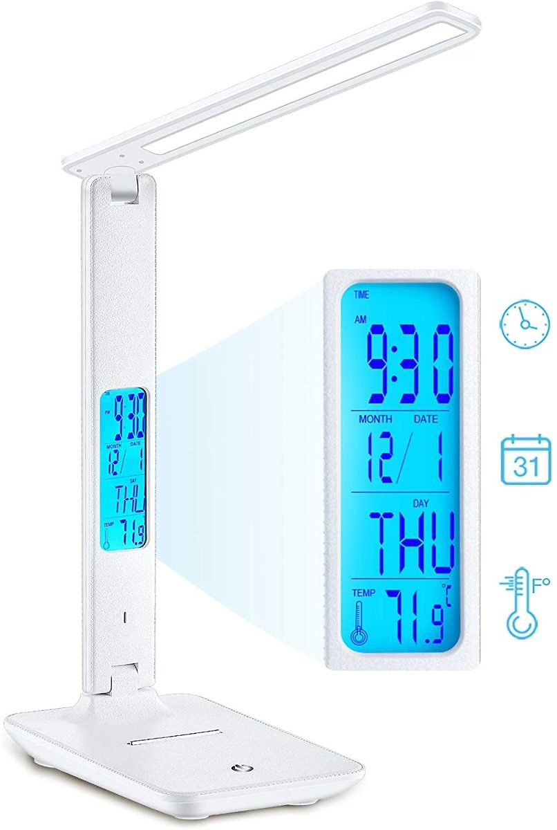 Desk Lamp, Wireless LED Desk Lamp with Smart Features (Clock, Alarm, Date, Temperature) - Adjustable, Foldable Table Lamp, 3 Lev