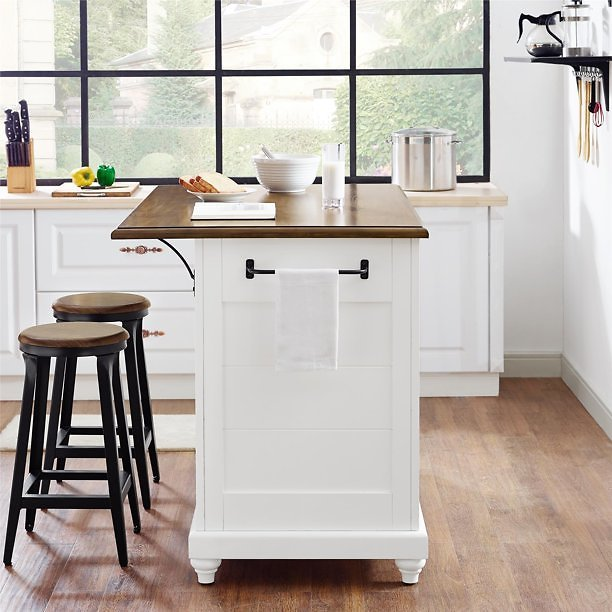 Dorel Living Kelsey Kitchen Island with 2 Stools and Drawers, White