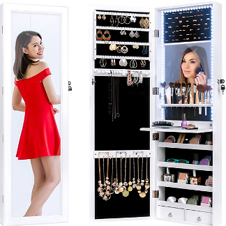 Hanging Mirror Jewelry Armoire Cabinet for Door or Wall Mount w/ LED Lights, Cosmetics Tray, Lock