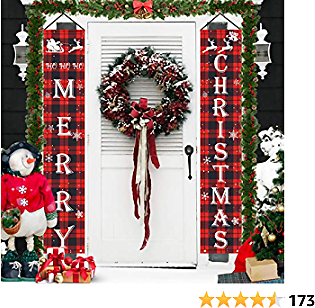 JaosWish Merry Christmas Decorations Banner, Christmas Porch Sign Red Plaid Hanging Banners for Indoor Outdoor Front Door Wall Xmas Christmas Decoration