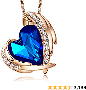CDE Love Heart Pendant Necklaces for Women Silver Tone Rose Gold Tone Crystals Birthstone Christmas Jewelry Gifts for Women Party/Anniversary Day/Birthday
