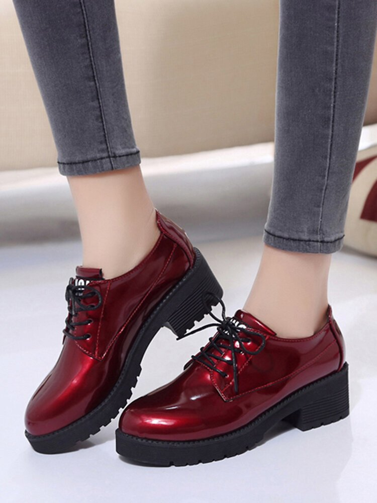 Women Solid Color Lace Up Casual Elegant Versatile Flat Loafers Shoes