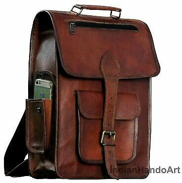 High-Quality Genuine Brown Leather Backpack Rucksack Travel Office Laptop Bag