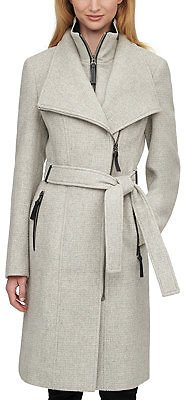 Calvin Klein Faux-Leather Trim Belted Coat, Created for Macy's & Reviews - Coats - Women