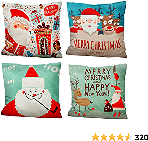 IMucci 4 Packs 18 Inch Santa Claus Christmas Cartoon Pillow Covers for Home and Outdoor Christmas Decor Winter Holiday Christmas Pillows Christmas Decorations Throw Pillow Covers(Cartoon)