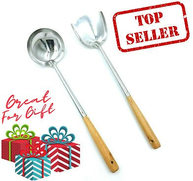 SAVE 5% ON Wooden Spatula Ladle Wok Set Stainless Steel Kitchen Tools Utensils Cooking Chef