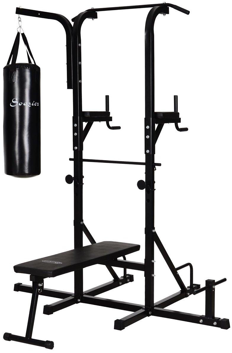 Soozier Home Gym Power Tower with Bench and Punching Bag, Multi-Function Adjustable Dip Sit Up Workout Station Equipment Heavy D