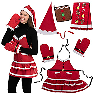 6 PCS Santa Lady Apron Christmas Kitchen Linens Accessories Set – Christmas Santa Apron, Hat, Cooking Chef Towel, Oven Mitts, Potholder, for Christmas Party Costume Supplies