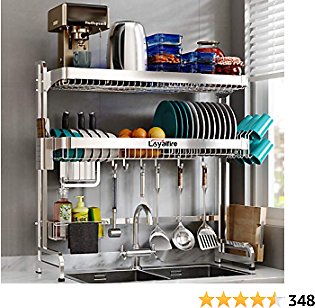 Over Sink Dish Drying Rack, Loyalfire 2 Tier Stainless Steel Large Storage Adjustable Kitchen Dish Rack (24.41''-37.6''), Expandable Dish Drainer Shelf Rack with Utensil Holder and Cup Hanging Set