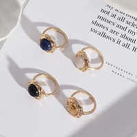 Wholesale 2021 Creative Design Female Jewelry Geometric Round Stone Band Ring 14K Gold Plating Natural Stone Rings From M.alibaba.com