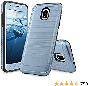 TJS Phone Case Compatible with Samsung Galaxy J7 2018/J7 Refine/J7 Star/J7 Eon/J7 TOP/J7 Aero/J7 Crown/J7 Aura/J7 V 2nd Gen, Metallic Brush Finish Inner Layer Protector Cover (Blue)