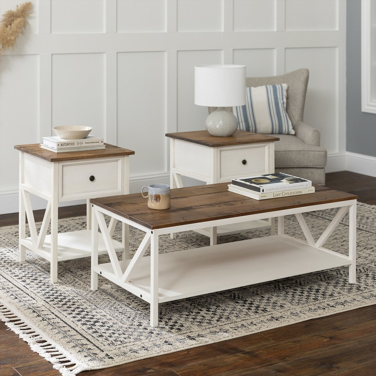 Modern Farmhouse Accent Table Set, Distressed White