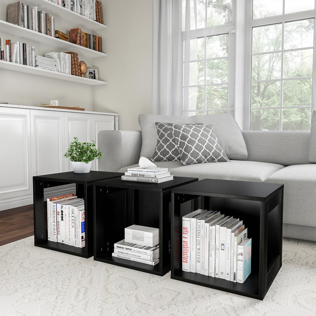 End Table – Stackable Modular Cube Accent Table with Open Sides By Lavish Home (Black)