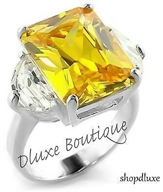 14.6 CT RADIANT CUT YELLOW CITRINE AAA CZ .925 STERLING SILVER ENGAGEMENT RING
