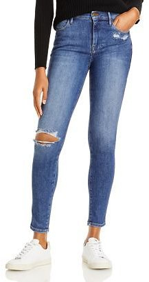FRAME Le High Rise Ripped Skinny Jeans in Saxon Women - Bloomingdale's