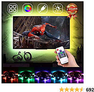 Ambient Lighting TV LED Backlight for 60-75in TV,USB LED Light Strip Bias Lighting Neon Accent Ambilight for HDTV 4 Sides, Monitor Backlight with RF Remote Controller & Strong Adhesive Tape 13.2ft