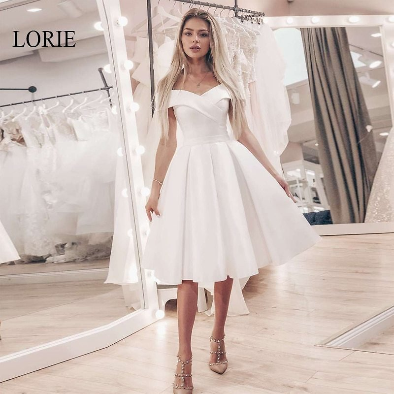 US $55.0 40% OFF|LORIE Short Lace Up Wedding Dress Off The Shoulder Simple A Line Bridal Gowns White Ivory Robe De Mariage Wedding Party Dresses|Wedding Dresses| - AliExpress