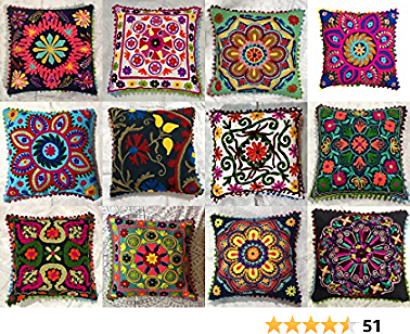 GANESHAM Indian Designer Home Decor Floral Cotton Pillow Case Bohemian Throw Pillow Cover Hand Embroidered Suzani Cushion Cover Couch Pillow (5)