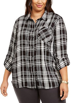 Style & Co Plus Size Plaid Button-Front Top, Created for Macy's & Reviews - Tops - Plus Sizes