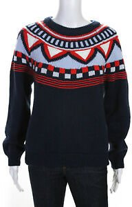 Tory Sport Womens Long Sleeve Crewneck Printed Sweater Blue Size Small