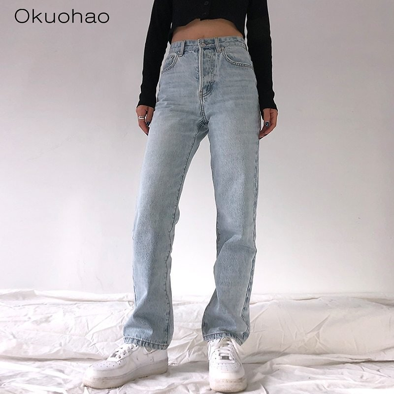 US $17.55 61% OFF|2020 High Waist Loose Comfortable Jeans For Women Plus Size Fashionable Casual Straight Pants Mom Jeans Washed Boyfriend Jeans|Jeans| - AliExpress