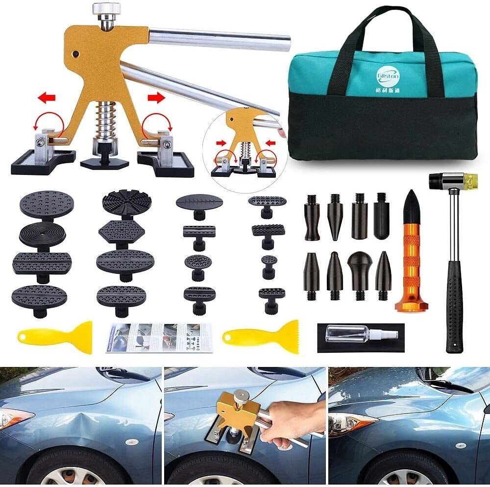 GLISTON Paintless Dent Puller – Golden Dent Puller Kit, 35pcs Dent Remover Tools with Adjustable Width Dent Repair Tools for Car