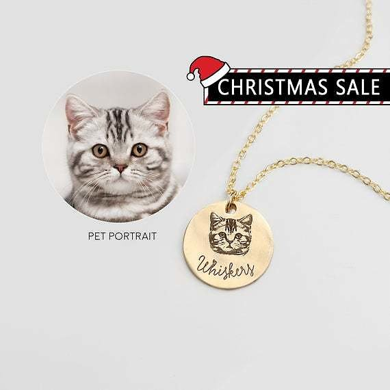 Pet Portrait Necklaces Personalized Gifts Animal Lovers Pet Loss Gift for Women Cat Necklace Cat Lover Gift - LCN-AP