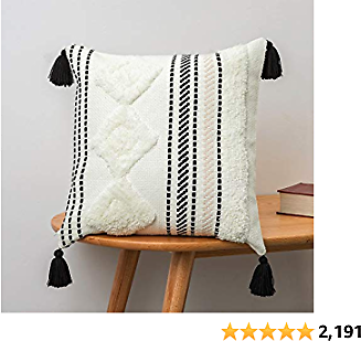 Blue Page Throw Pillows Pillow Covers for Decorative Pillows – Exquisitely Crafted Boho Throw Pillow Covers with Hand-Finished Tuft & Tassel Details – Soft & Stylish Decorative Pillow Covers
