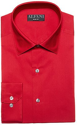 Alfani Men's Slim-Fit Performance Stretch Easy-Care Solid Dress Shirt, Created for Macy's & Reviews - Dress Shirts - Men - Red