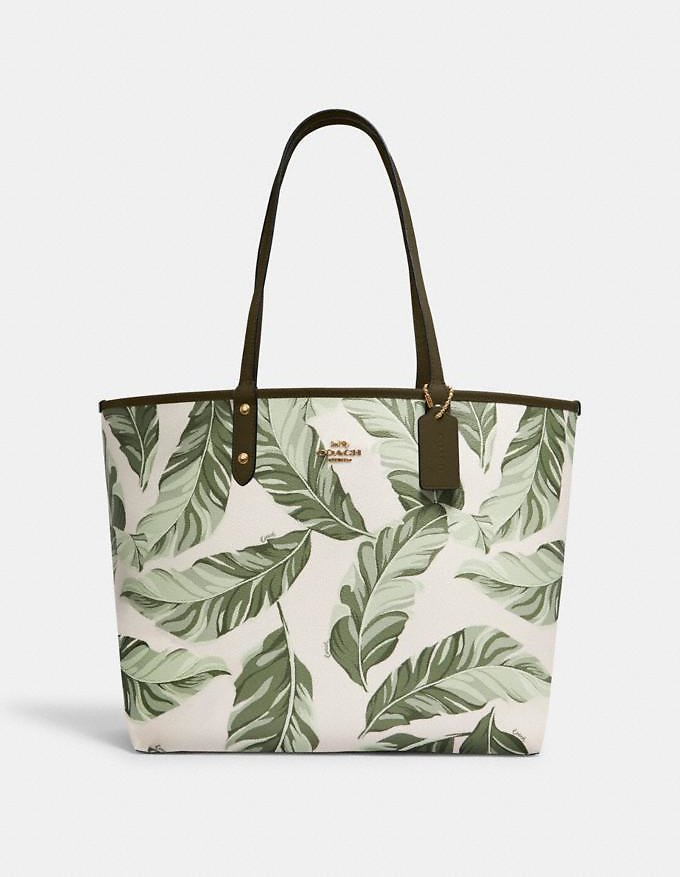 75% OFF | Reversible City Tote with Banana Leaves Print