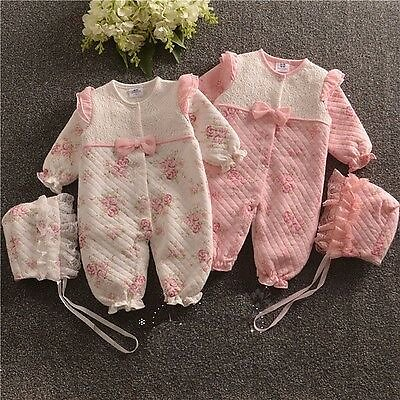 Newborn Baby Girl Fall Winter Clothes Medium Thick Warm Padded Bodysuit & Hat