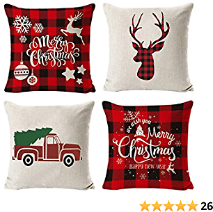 Christmas Pillow Covers 18x18, Christmas Throw Pillow Covers 18x18 with Buffalo Plaid, Decorative Pillow Covers for Home Farmhouse Decor Set of 4 Red (Multi) (Red)