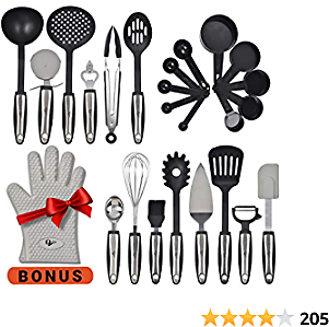 WH-SHOP Kitchen Utensils 25 Pcs Set with Kitchen Tools and Kitchen Gadgets Made of Strong Stainless Steel and Nonstick Nylon - Heat Resistant Cookware Set Plus Bonus Silicone Oven Glove