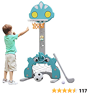 Toddler Basketball Hoop Set for Kids, 5 in 1 Sports Activity Center for Indoor & Outdoor Adjustable Basketball Hoop Football / Soccer Goal Golf Game Ring Toss Game Toy for Baby Infants Toddler Aqua
