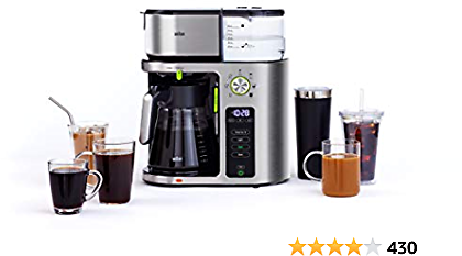 Braun MultiServe Machine 7 Programmable Brew Sizes / 3 Strengths + Iced Coffee, Glass Carafe (10-Cup), Stainless Steel, KF9070SI