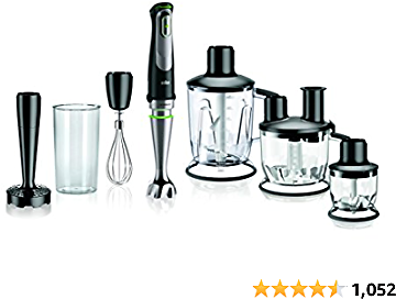Braun MQ9097 Multiquick 5-in-1 Immersion Hand, Powerful 700W Stainless Steel Stick Blender, Variable Speed + 6-Cup Food Processor, Ice Crusher, Whisk, Beaker, Masher, 2.7 X 2.7 X 16.1 Inches, Black