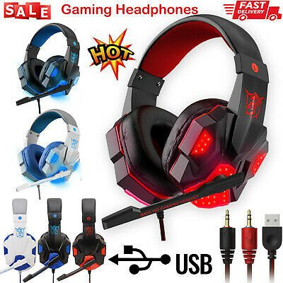 3.5 Mm Gaming Headset Mic LED Headphones Stereo Surround for PC PS4 For Xbox ONE