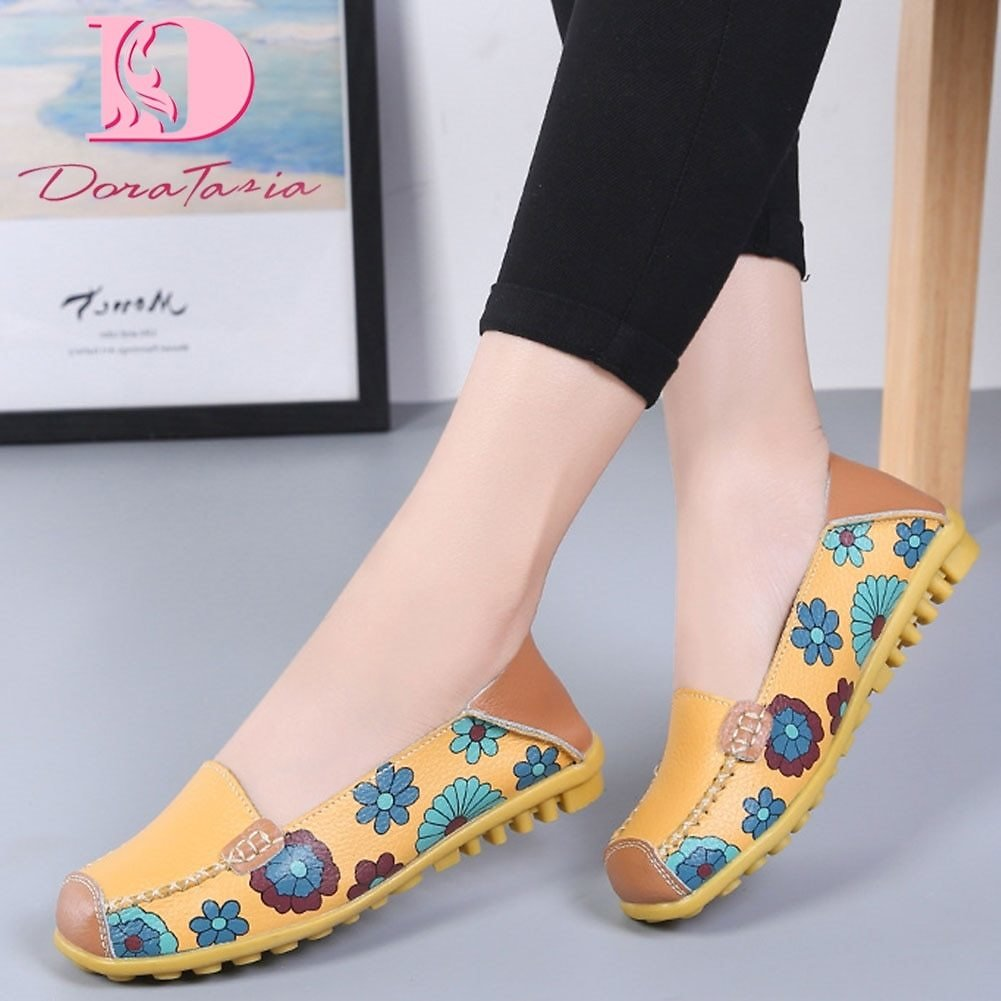 US $12.56 42% OFF DORATASIA New Female Split Leather Shallow Flats Print Mixed Colors Flats Women Spring Autumn Casual Comfort Loafers Shoes Woman Women's Flats  - AliExpress