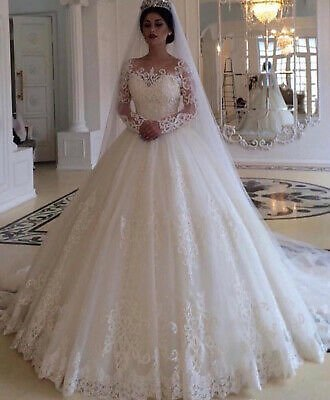 Arabic Long Sleeves Wedding Dress Lace A Line Princess Bridal Gowns Sweep Train