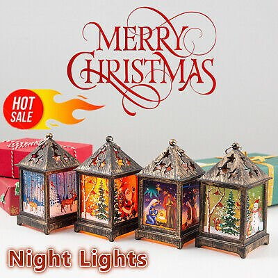 Christmas LED Light Up Lantern Xmas Santa Claus Table Lamp Decoration Ornament