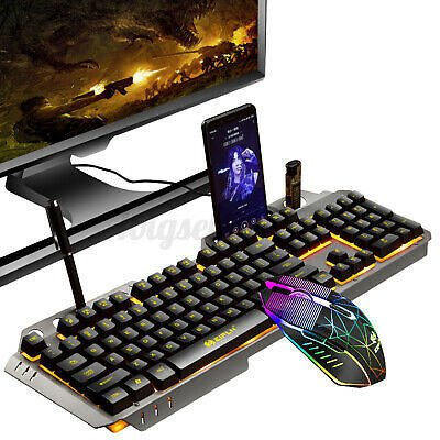 USB Ergonomic Gaming Keyboard and Mouse Set LED Backlight For PS4 Xbox PC