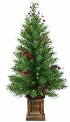 Woodland Berry Artificial Entrance Tree, 50 Clear Lights, 4-Ft.