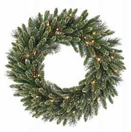 Artificial Wreath, Golden Bristle, 50 Battery-Operated Warm White LED Lights, 24-In.